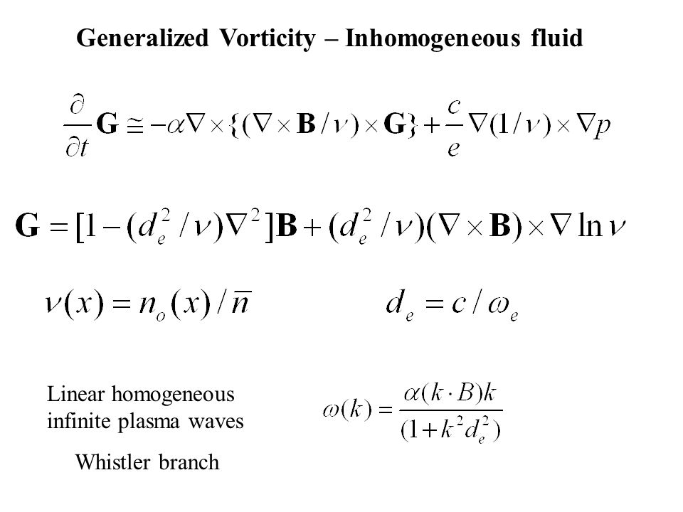 Linear homogeneous infinite plasma waves Whistler branch Generalized Vorticity – Inhomogeneous fluid