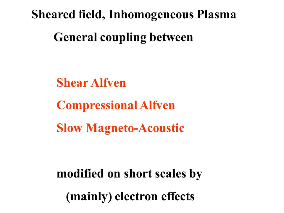 Sheared field, Inhomogeneous Plasma General coupling between Shear Alfven Compressional Alfven Slow Magneto-Acoustic modified on short scales by (mainly) electron effects