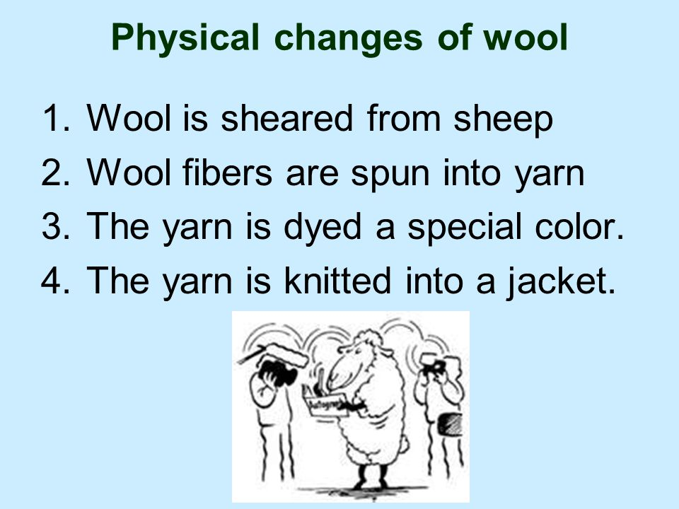 Physical changes of wool 1.Wool is sheared from sheep 2.Wool fibers are spun into yarn 3.The yarn is dyed a special color.