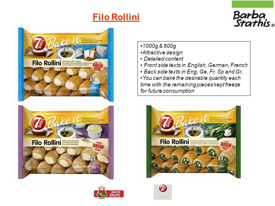 Mini Filo Twist Hand twisted mini pies, ready to bake into the in package of 600g (11-12 pcs) & 1000g (17-19 pieces) in 2 different fillings: Feta cheese and mizithra cheese (Tiropita) Spinach, mizithra cheese, dill and onion (Spanakopita) Mini Filo Twist : filo kneaded with virgin olive oil!!!