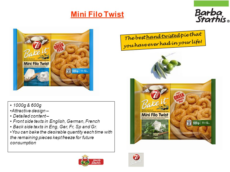 Filo Twist - family size – Hand twisted family size pies, ready to bake into the in package of 1000g (1 piece) – in 2 different fillings: Feta cheese and mizithra cheese (Tiropita) Spinach, mizithra cheese, dill and onion (Spanakopita) Filo Twist : filo kneaded with virgin olive oil!!!