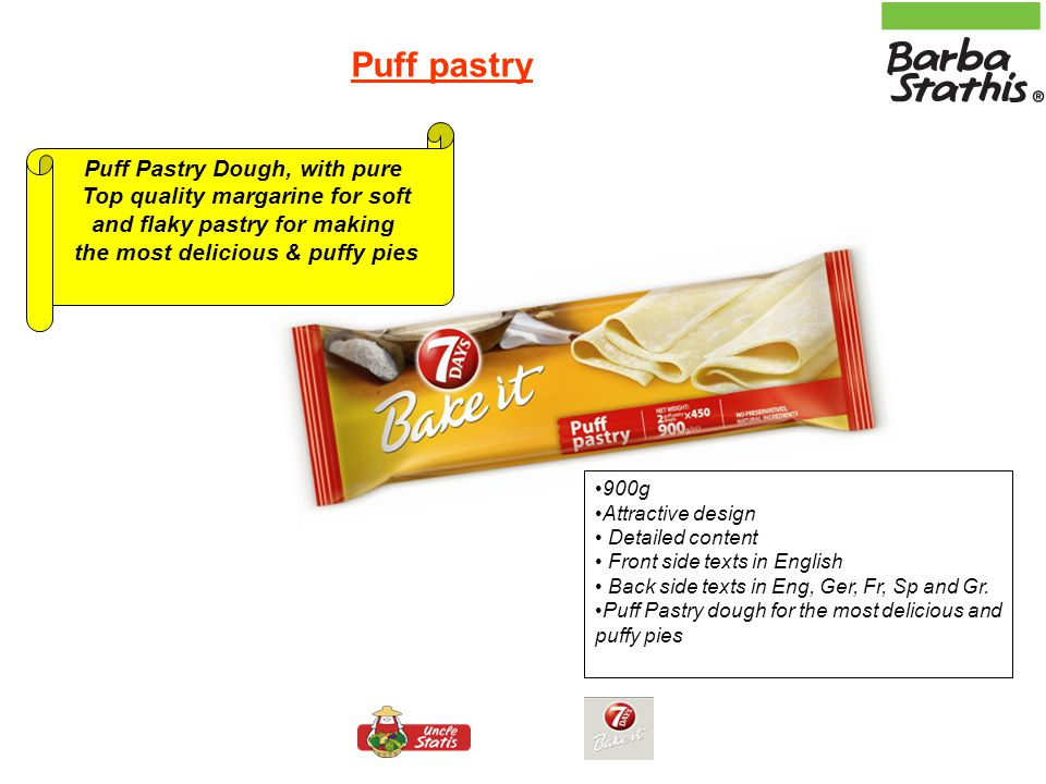 Medium Filo Pastry for pies & Extra Fine Filo Pastry for sweet pies Easy handling without breaking, ideal for creating your own freshly baked pies & sweet pies with thin and crispy filo 450g Attractive design Detailed content Recipes on the packaging for Spinach pie (medium Filo Pastry) and Baklava (Extra fine Filo Pastry) Front side texts in English Back side texts in Eng, Ge, Fr, Sp and Gr.