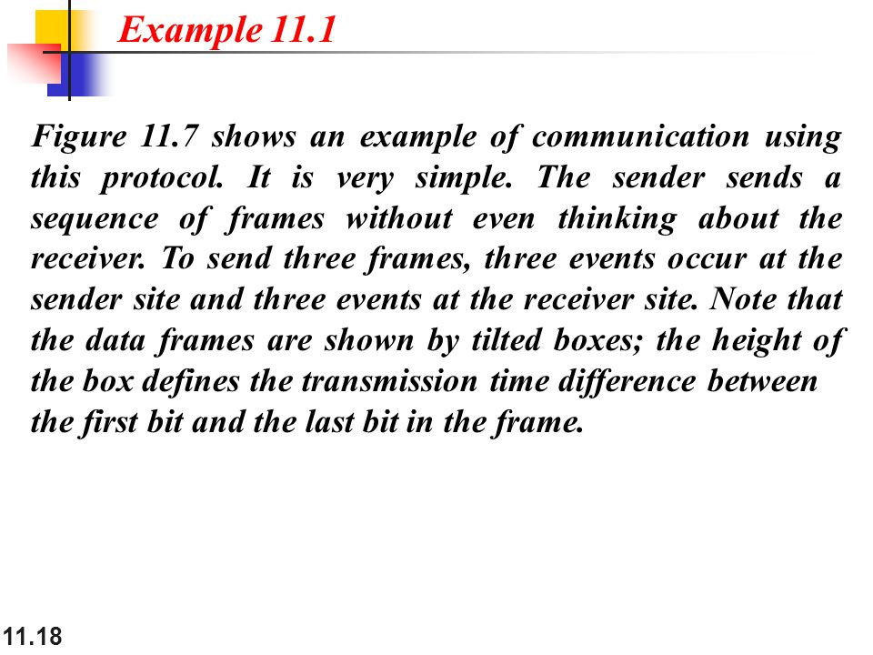 11.18 Figure 11.7 shows an example of communication using this protocol. It is very simple. The sender sends a sequence of frames without even thinkin