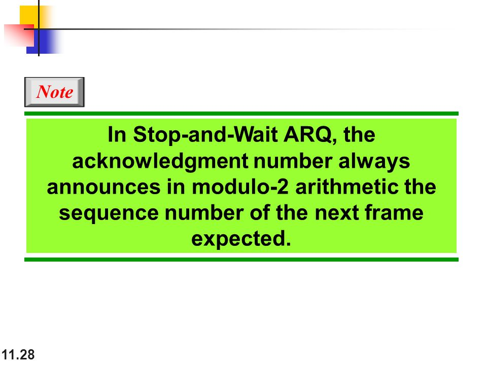 11.28 In Stop-and-Wait ARQ, the acknowledgment number always announces in modulo-2 arithmetic the sequence number of the next frame expected.