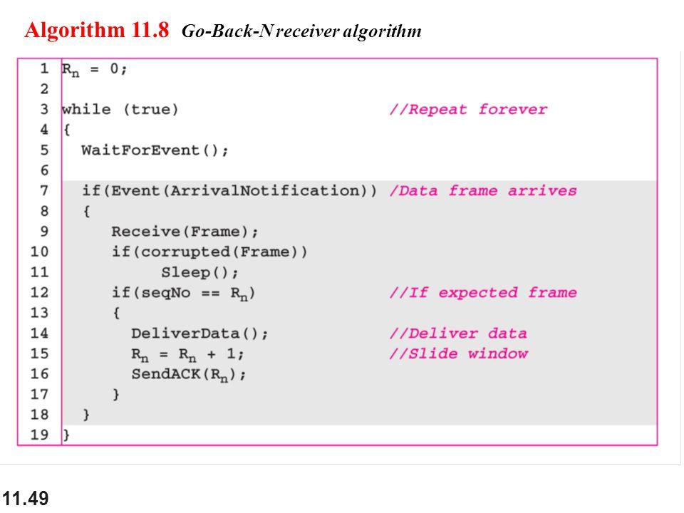 11.49 Algorithm 11.8 Go-Back-N receiver algorithm