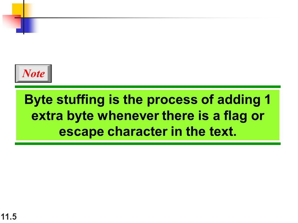 11.5 Byte stuffing is the process of adding 1 extra byte whenever there is a flag or escape character in the text.