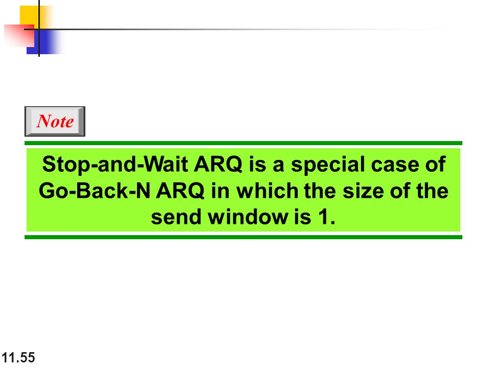 11.55 Stop-and-Wait ARQ is a special case of Go-Back-N ARQ in which the size of the send window is 1. Note
