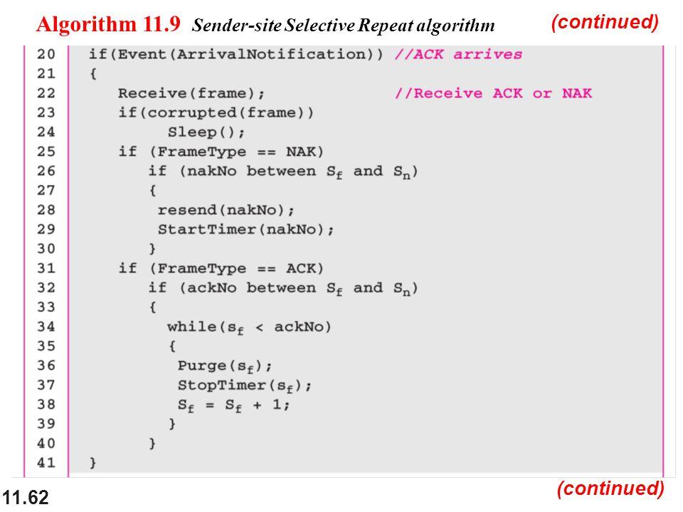 11.62 Algorithm 11.9 Sender-site Selective Repeat algorithm (continued)