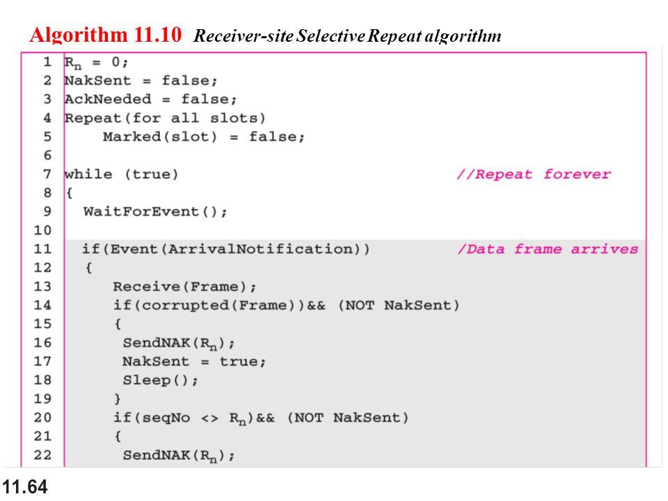 11.64 Algorithm 11.10 Receiver-site Selective Repeat algorithm