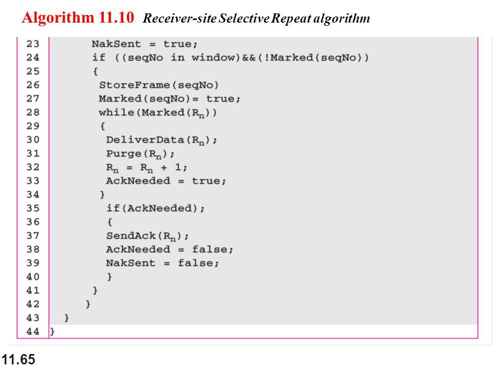 11.65 Algorithm 11.10 Receiver-site Selective Repeat algorithm