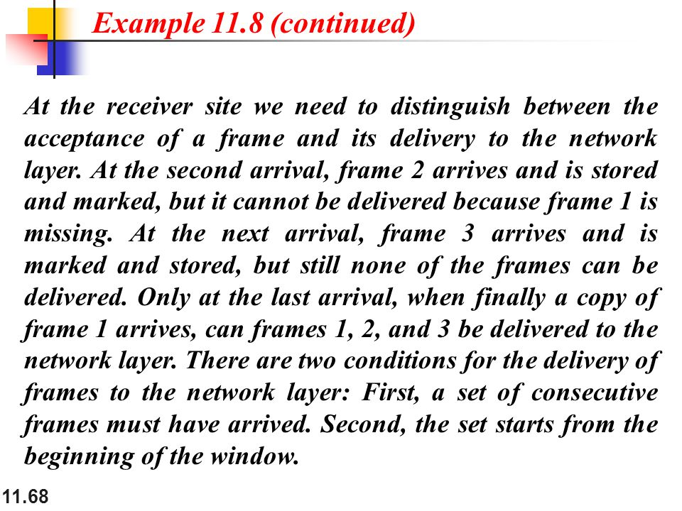 11.68 At the receiver site we need to distinguish between the acceptance of a frame and its delivery to the network layer. At the second arrival, fram