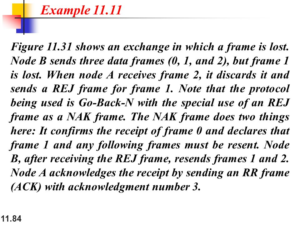 11.84 Figure 11.31 shows an exchange in which a frame is lost.