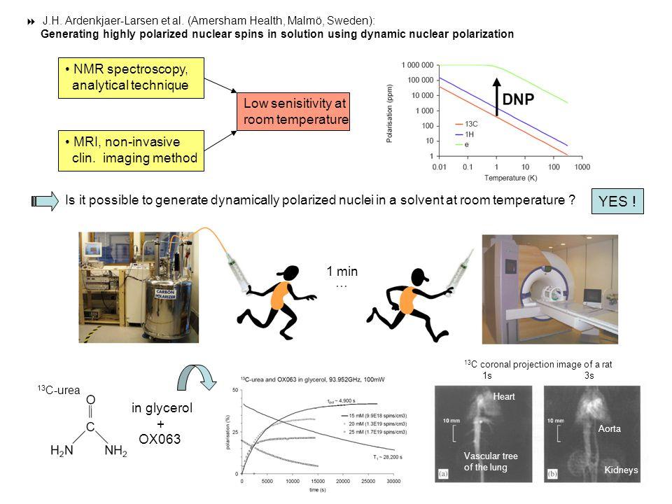  J.H. Ardenkjaer-Larsen et al. (Amersham Health, Malmö, Sweden): Generating highly polarized nuclear spins in solution using dynamic nuclear polariza