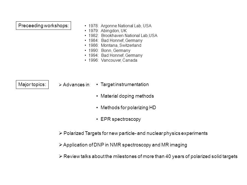 S.Goertz et al., Bochum Novel doping methods for organic deuterated materials Radiation doping of d-butanol and deuterated polyethylene Chemical doping of d-butanol and d-propanediol with the trityl-radical D.G.Crabb et al., Virginia S.Goertz et al.,Bochum New standard tool: Low and high field EPR measurements J.