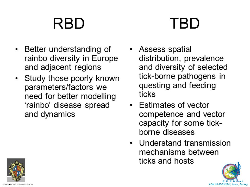 RBD Better understanding of rainbo diversity in Europe and adjacent regions Study those poorly known parameters/factors we need for better modelling '