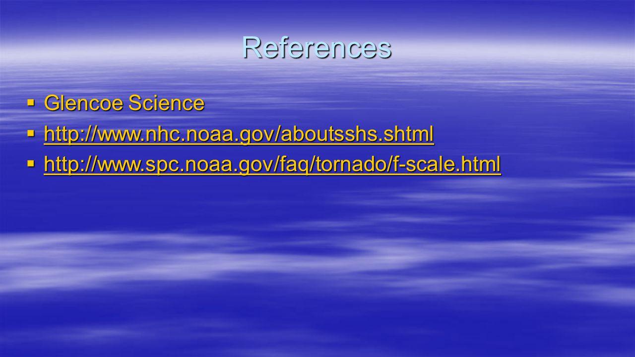References  Glencoe Science  http://www.nhc.noaa.gov/aboutsshs.shtml http://www.nhc.noaa.gov/aboutsshs.shtml  http://www.spc.noaa.gov/faq/tornado/f-scale.html http://www.spc.noaa.gov/faq/tornado/f-scale.html