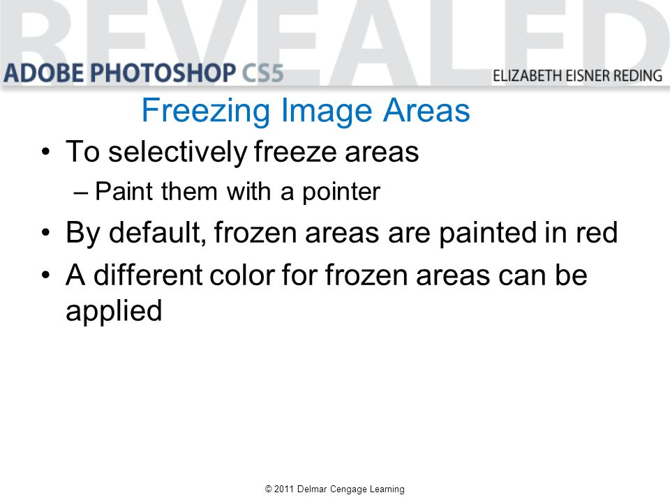 Freezing Image Areas To selectively freeze areas –Paint them with a pointer By default, frozen areas are painted in red A different color for frozen a