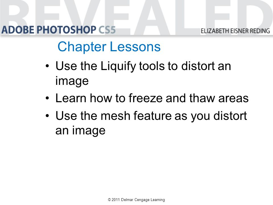 Chapter Lessons Use the Liquify tools to distort an image Learn how to freeze and thaw areas Use the mesh feature as you distort an image © 2011 Delma
