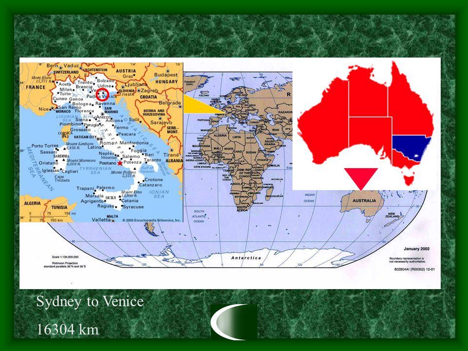 Sydney to Venice 16304 km