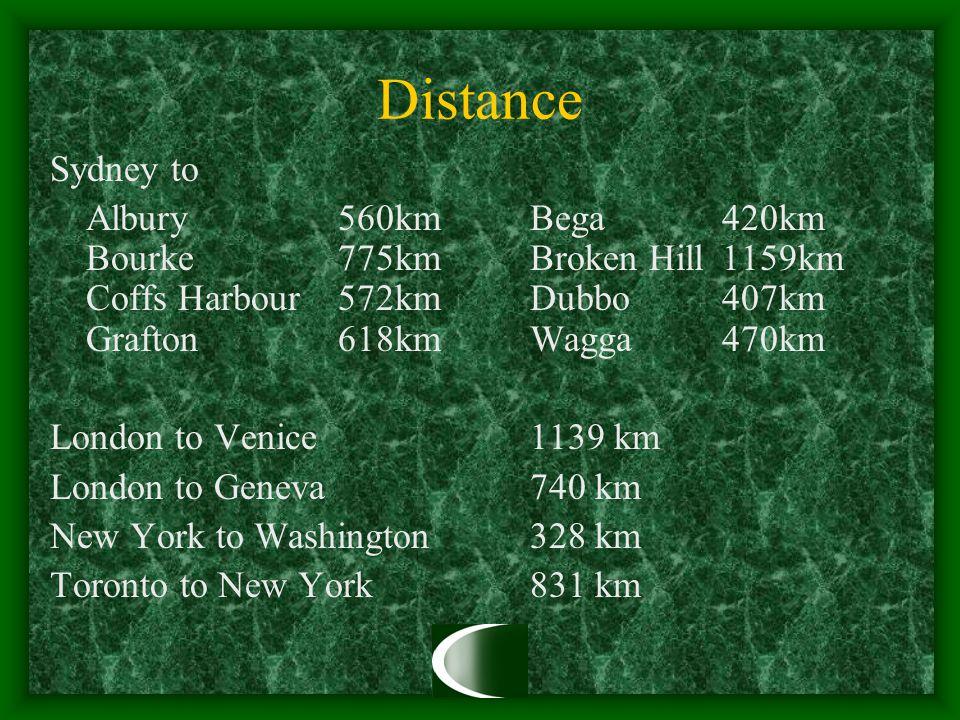 Distance Sydney to Albury 560km Bega 420km Bourke 775km Broken Hill 1159km Coffs Harbour 572kmDubbo 407km Grafton 618km Wagga 470km London to Venice1139 km London to Geneva740 km New York to Washington328 km Toronto to New York831 km