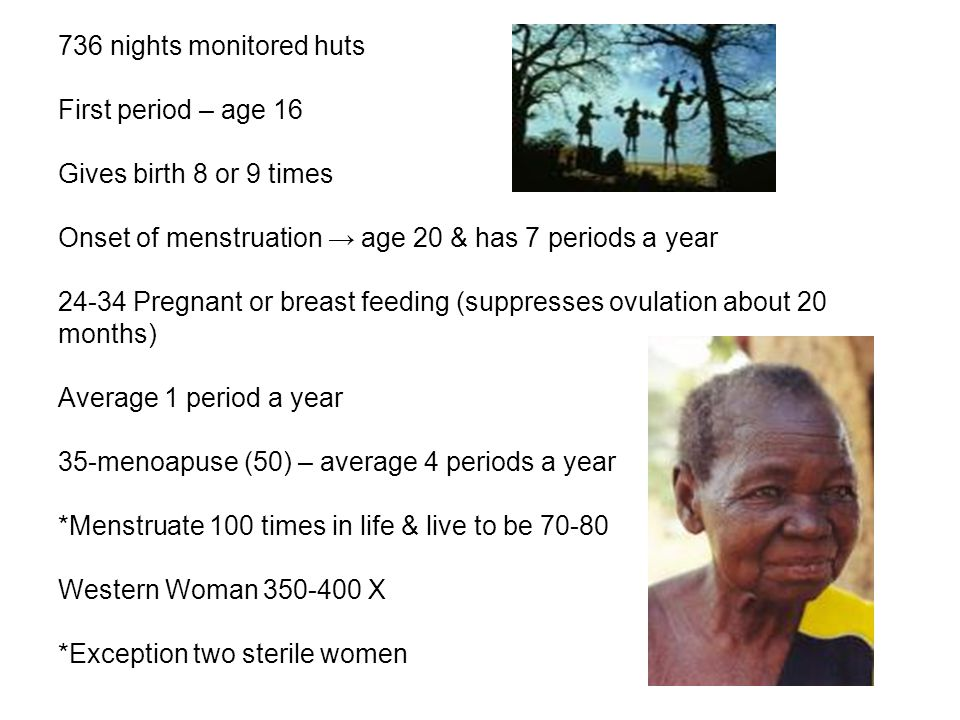 736 nights monitored huts First period – age 16 Gives birth 8 or 9 times Onset of menstruation → age 20 & has 7 periods a year 24-34 Pregnant or breast feeding (suppresses ovulation about 20 months) Average 1 period a year 35-menoapuse (50) – average 4 periods a year *Menstruate 100 times in life & live to be 70-80 Western Woman 350-400 X *Exception two sterile women