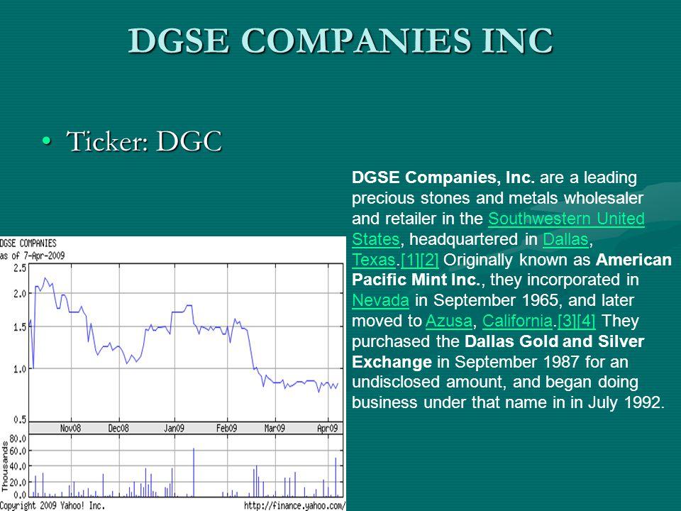 DGSE COMPANIES INC Last Trade:0.8425Last Trade:0.8425 EPS (ttm):0.109EPS (ttm):0.109 P/E (ttm):7.73P/E (ttm):7.73 Market Cap:8.28MMarket Cap:8.28M Change: 0.0025 (0.30%)Change: 0.0025 (0.30%) Beta:1.9Beta:1.9