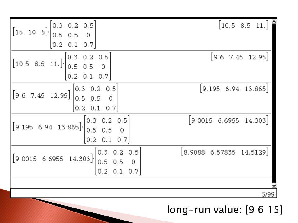 long-run value: [9 6 15]