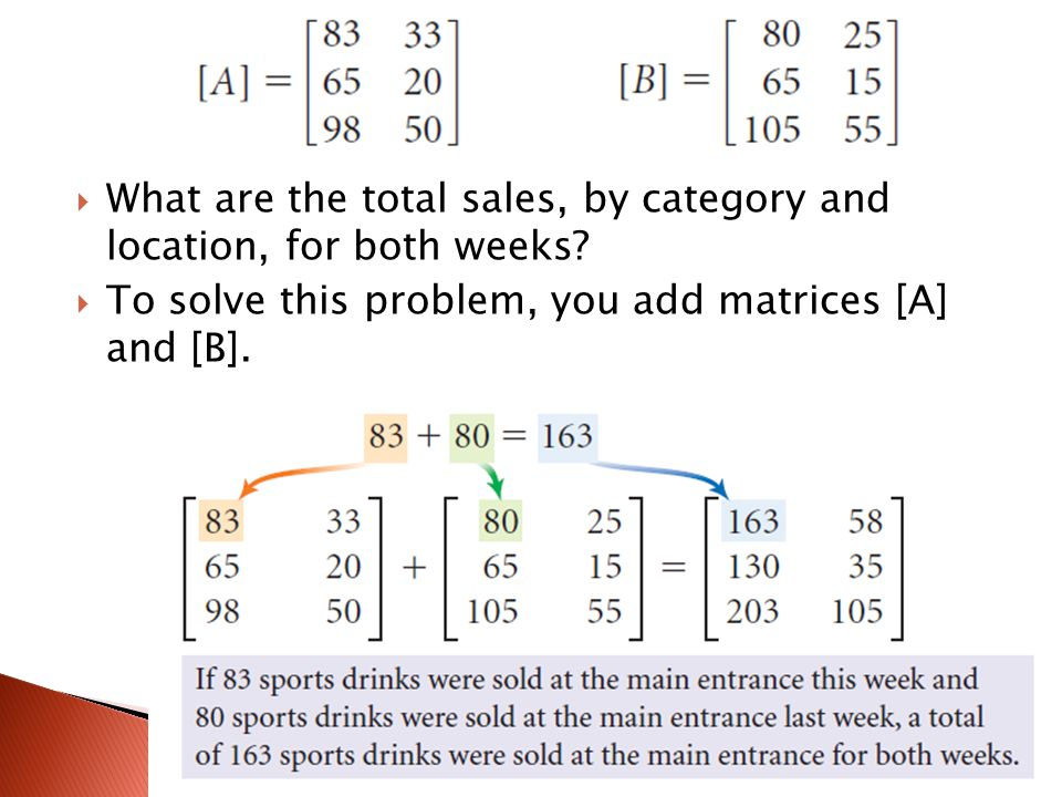  What are the total sales, by category and location, for both weeks?  To solve this problem, you add matrices [A] and [B].