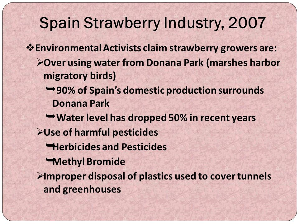 Spain Strawberry Industry, 2007  Environmental Activists claim strawberry growers are:  Over using water from Donana Park (marshes harbor migratory