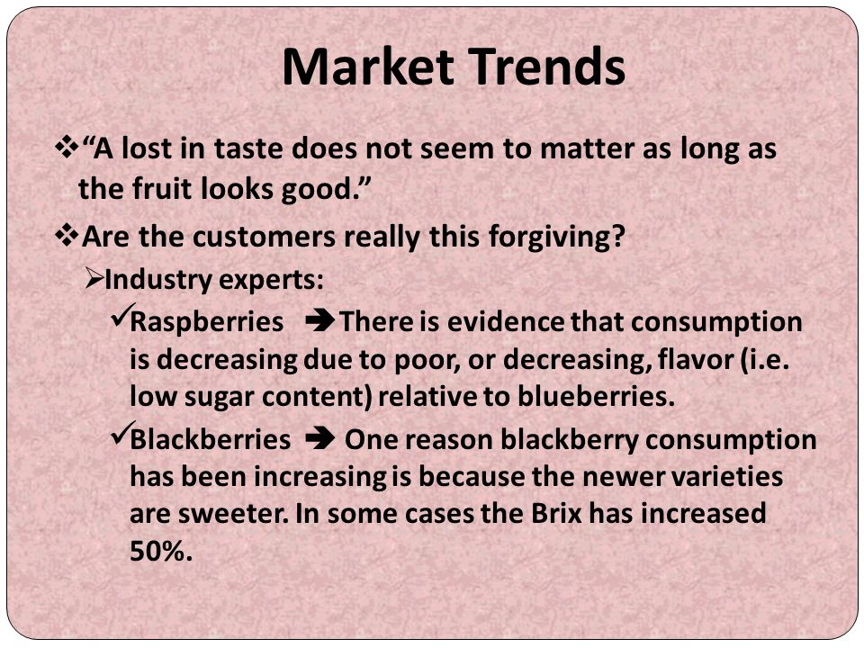 """Market Trends  """"A lost in taste does not seem to matter as long as the fruit looks good.""""  Are the customers really this forgiving?  Industry exper"""