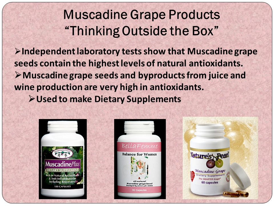 """Muscadine Grape Products """"Thinking Outside the Box""""  Independent laboratory tests show that Muscadine grape seeds contain the highest levels of natur"""
