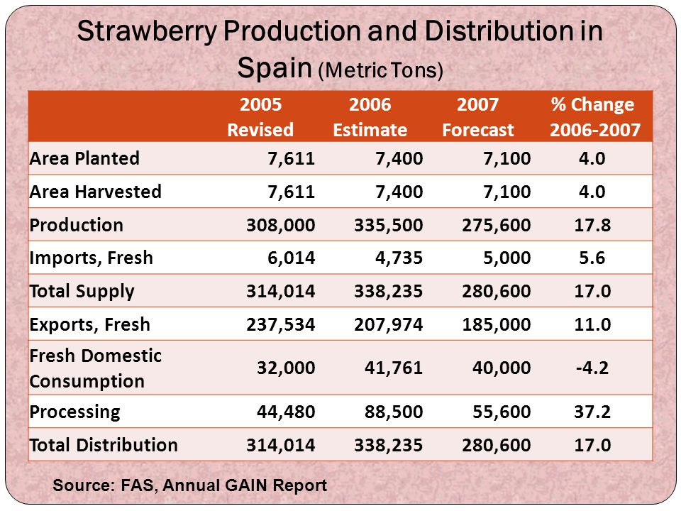 Strawberry Production and Distribution in Spain (Metric Tons) 2005 Revised 2006 Estimate 2007 Forecast % Change 2006-2007 Area Planted7,6117,4007,1004
