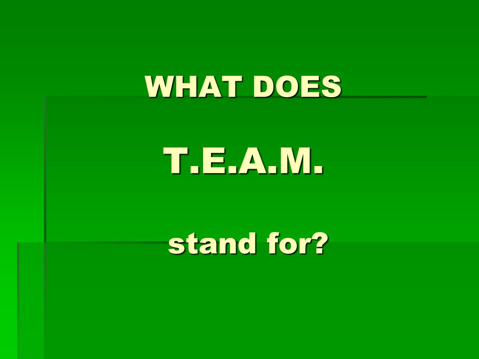 WHAT DOES T.E.A.M. stand for
