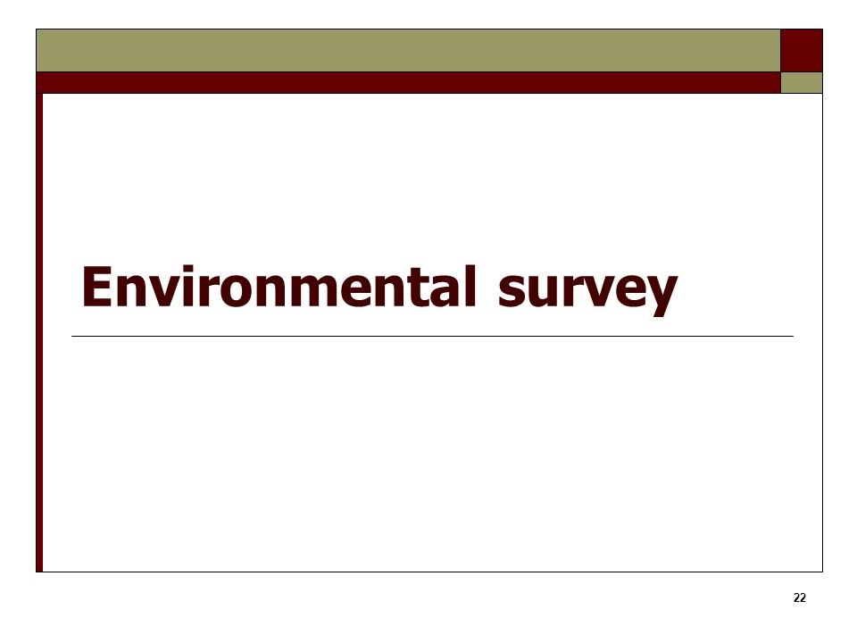 22 Environmental survey