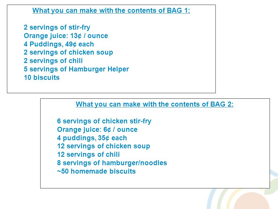 What you can make with the contents of BAG 2: 6 servings of chicken stir-fry Orange juice: 6¢ / ounce 4 puddings, 35¢ each 12 servings of chicken soup 12 servings of chili 8 servings of hamburger/noodles ~50 homemade biscuits What you can make with the contents of BAG 1: 2 servings of stir-fry Orange juice: 13¢ / ounce 4 Puddings, 49¢ each 2 servings of chicken soup 2 servings of chili 5 servings of Hamburger Helper 10 biscuits