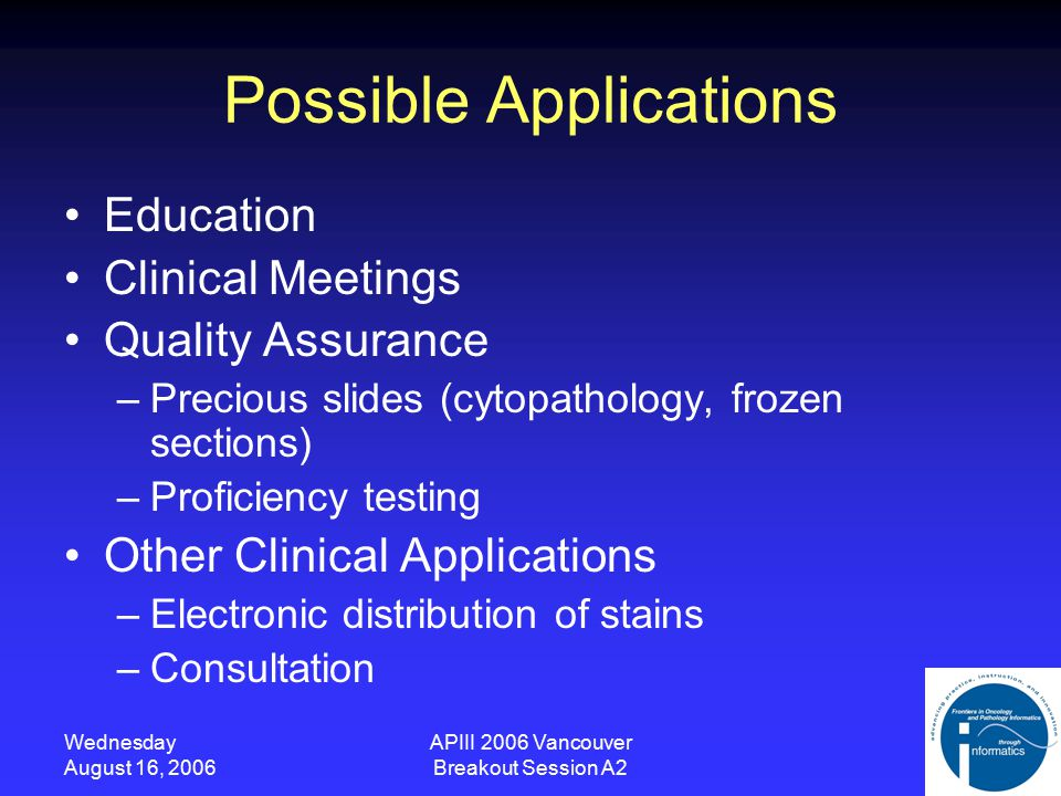 Wednesday August 16, 2006 APIII 2006 Vancouver Breakout Session A2 Possible Applications Education Clinical Meetings Quality Assurance –Precious slides (cytopathology, frozen sections) –Proficiency testing Other Clinical Applications –Electronic distribution of stains –Consultation