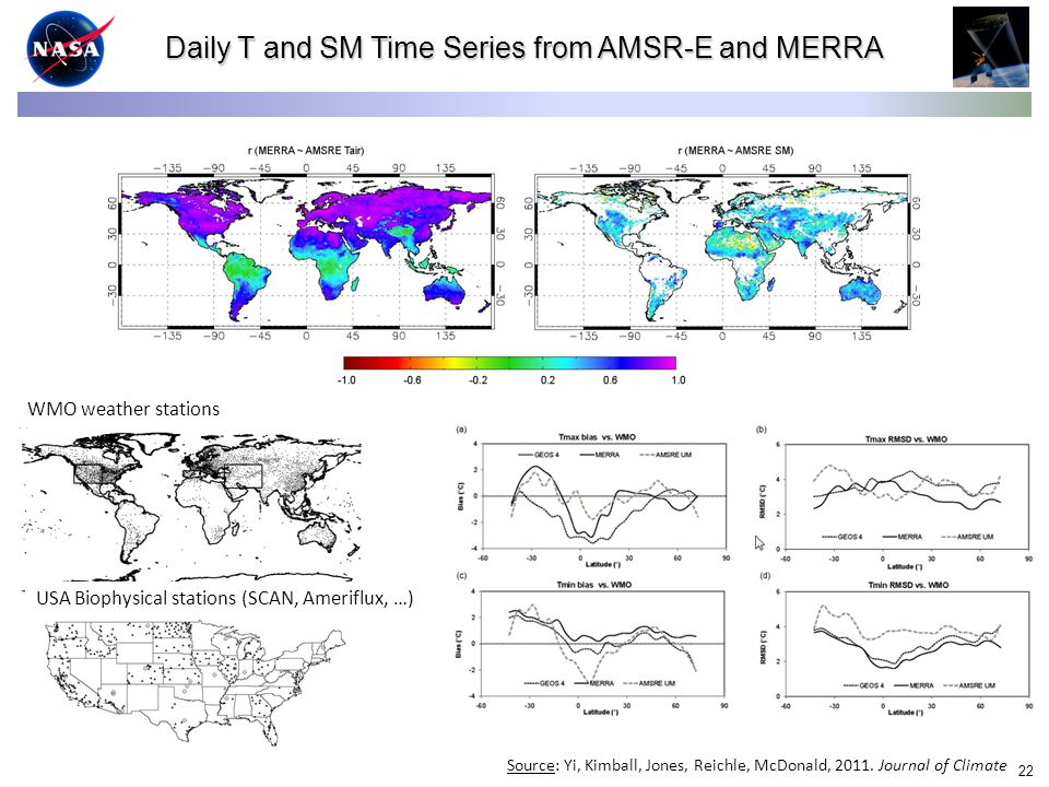 22 Daily T and SM Time Series from AMSR-E and MERRA WMO weather stations USA Biophysical stations (SCAN, Ameriflux, …) Source: Yi, Kimball, Jones, Reichle, McDonald, 2011.