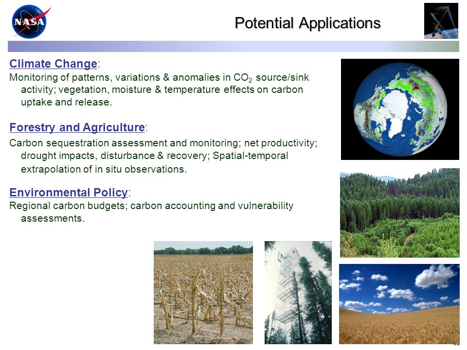32 Climate Change: Monitoring of patterns, variations & anomalies in CO 2 source/sink activity; vegetation, moisture & temperature effects on carbon uptake and release.