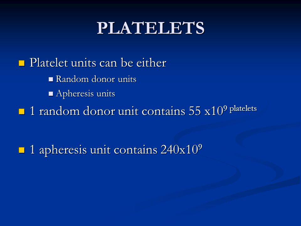 Guidelines for Platelet Tx.