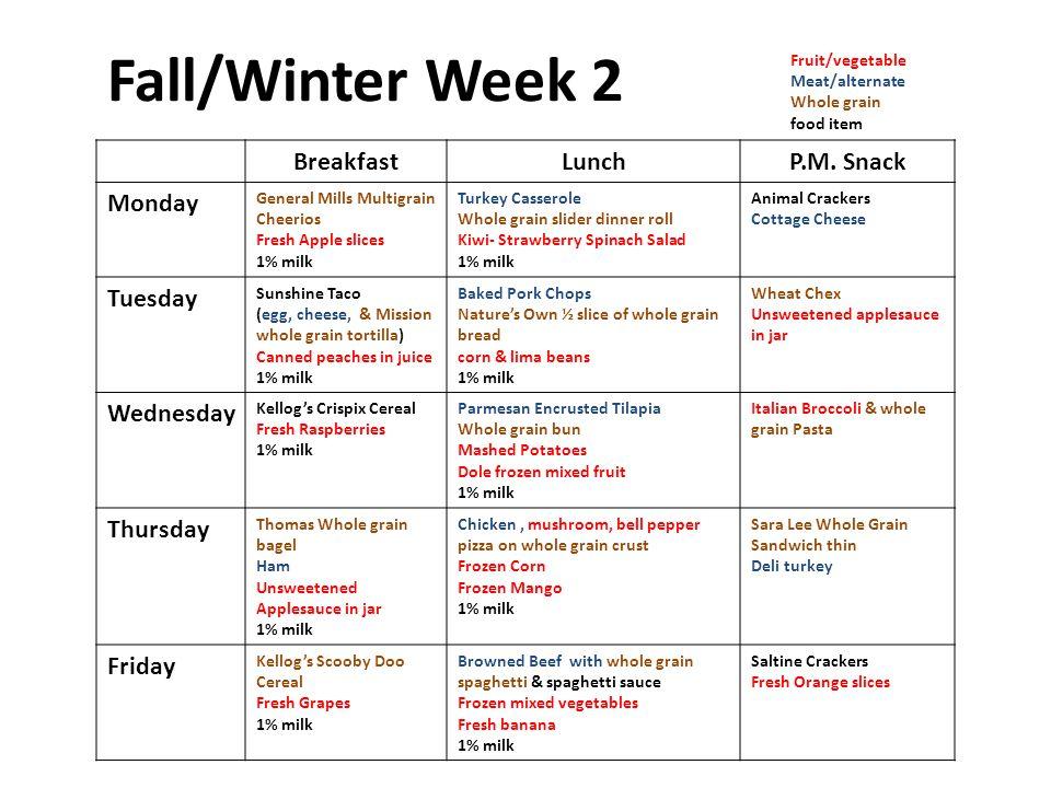 Fall/Winter Week 2 BreakfastLunchP.M.