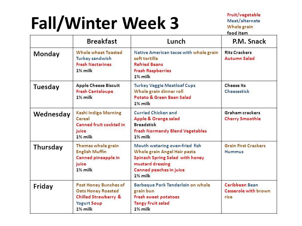 Fall/Winter Week 3 BreakfastLunchP.M.