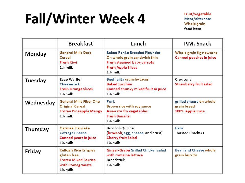Fall/Winter Week 4 BreakfastLunchP.M.
