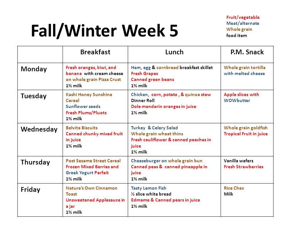 Fall/Winter Week 5 BreakfastLunchP.M.