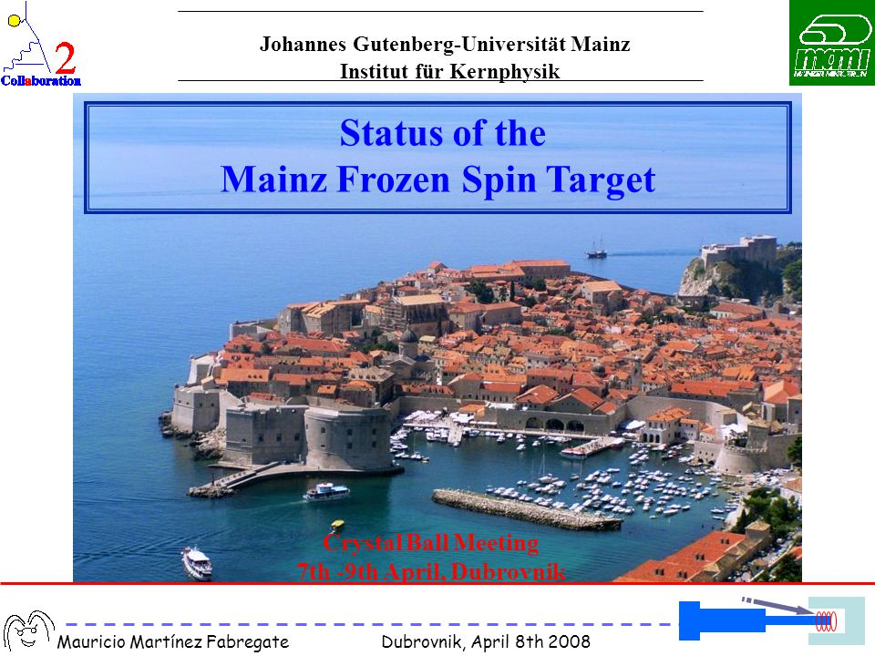 Mauricio Martínez Fabregate Dubrovnik, April 8th 2008 Crystal Ball Meeting 7th -9th April, Dubrovnik Status of the Mainz Frozen Spin Target Institut f