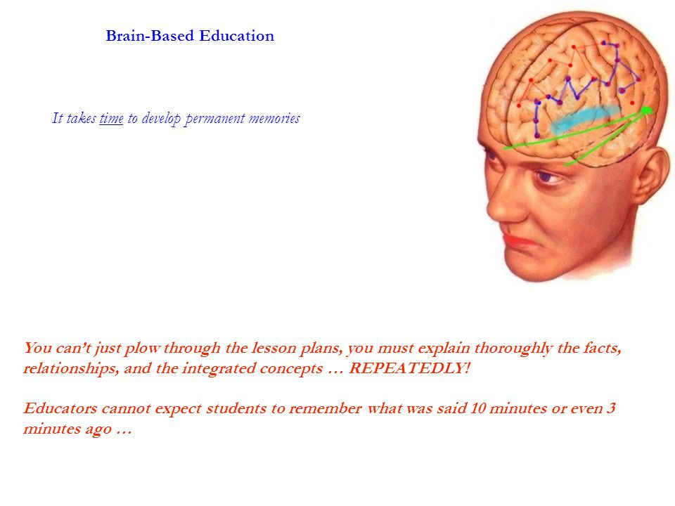 It takes time to develop permanent memories Brain-Based Education You can't just plow through the lesson plans, you must explain thoroughly the facts, relationships, and the integrated concepts … REPEATEDLY.