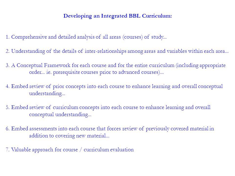 Developing an Integrated BBL Curriculum: 1.