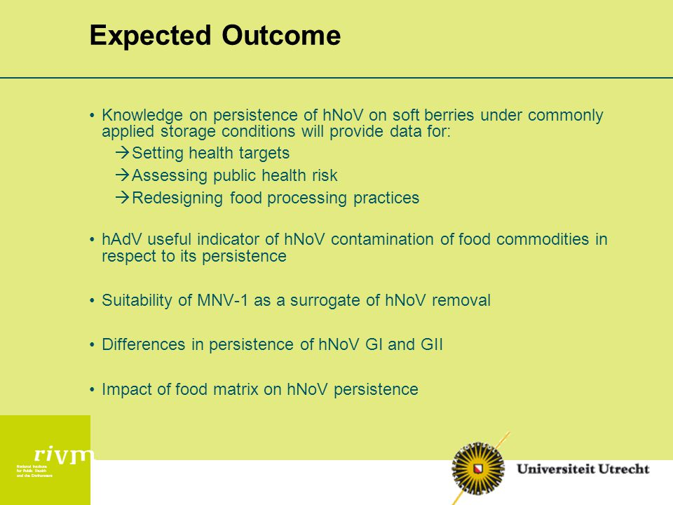 National Institute for Public Health and the Environment Expected Outcome Knowledge on persistence of hNoV on soft berries under commonly applied storage conditions will provide data for:  Setting health targets  Assessing public health risk  Redesigning food processing practices hAdV useful indicator of hNoV contamination of food commodities in respect to its persistence Suitability of MNV-1 as a surrogate of hNoV removal Differences in persistence of hNoV GI and GII Impact of food matrix on hNoV persistence