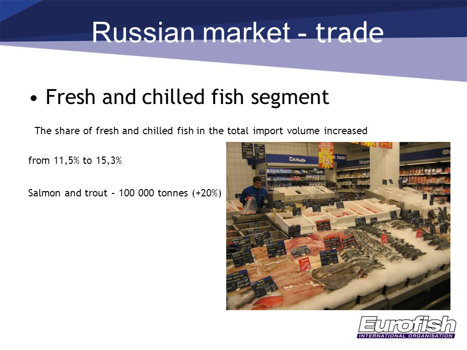 Russian market - trade Fresh and chilled fish segment The share of fresh and chilled fish in the total import volume increased from 11,5% to 15,3% Salmon and trout – 100 000 tonnes (+20%)