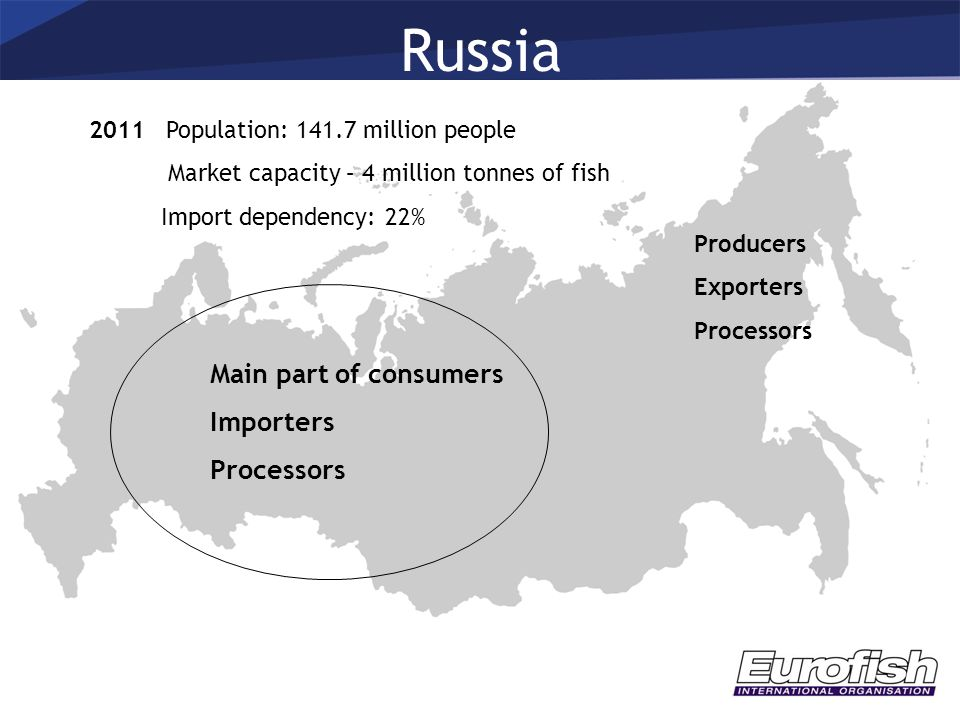 Russia 2011 Population: 141.7 million people Market capacity – 4 million tonnes of fish Import dependency: 22% Main part of consumers Importers Proces