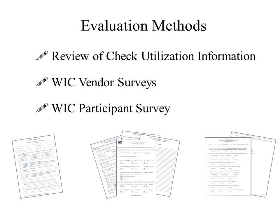 Evaluation Methods  Review of Check Utilization Information  WIC Vendor Surveys  WIC Participant Survey